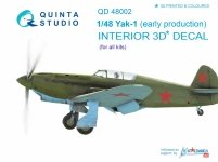 Quinta Studio QD48002 Yak-1 (early production) 3D-Printed & coloured Interior on decal paper (for all kits) 1/48