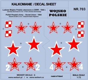 Weikert Decals DEC703 Wojsko Polskie - samoloty szturmowe Ił2M3 - 3 Pułk Lotnictwa Szturmowego - część 1 1/72