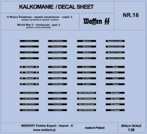 Weikert Decals DEC216 Opaski naramienne - wstęgi niemieckich dywizji i pułków ver.1 - vol.16 1/35