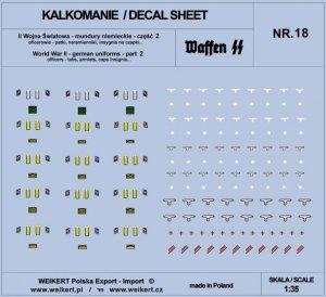Weikert Decals DEC218 Mundury niemieckie - patki, naramienniki, insygnia na czapki - WAFFEN SS - ver.2 - vol.18 1/35