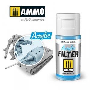 Ammo of Mig 0806 ACRYLIC FILTER Sky Blue 15 ml