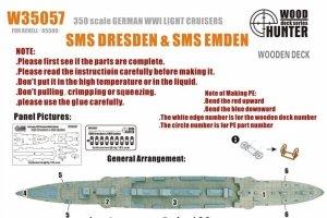 Wood Hunter W35057 Wood deck German Light Cruiser Dresden & Emden for Revell 1/350