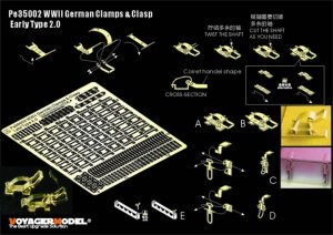 Voyager Model PE35002 WWII German Clamps & Clasp Early Type 2.0 (For All) 1/35