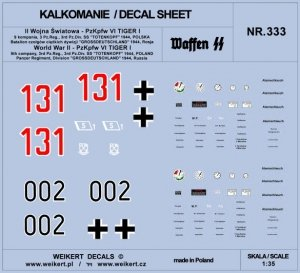 Weikert Decals DEC333 PzKpfw VI TIGER - Dywizja SS Totenkopf i Dywizja Grossdeutschland - 1944 - vol.2 1/35