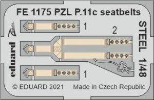 Eduard FE1175 PZL P.11c seatbelts STEEL ARMA HOBBY 1/48