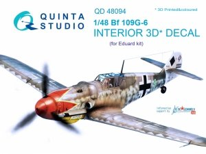 Quinta Studio QD48094 Bf 109G-6 3D-Printed & coloured Interior on decal paper (for Eduard kit) 1/48