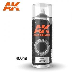 AK Interactive AK 1009 FINE PRIMER BLACK SPRAY 400ml