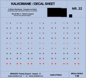 Weikert Decals DEC222 Emblematy na hełmy niemieckie - WAFFEN SS - vol. 22 1/35