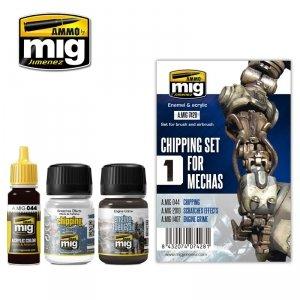 AMMO of Mig Jimenez 7428 CHIPPING SET FOR MECHAS 3x35 ml