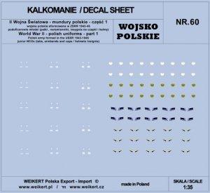 Weikert Decals DEC260 Mundury polskie - patki, naramienniki, insygnia na czapki i hełmy - cześć 1 - vol.60 1/35