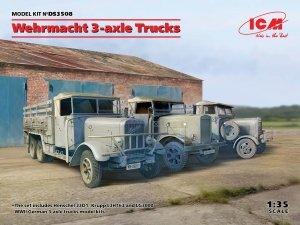 ICM DS3508 Wehrmacht 3-axle Trucks (Henschel 33D1, Krupp L3H163, LG3000) 1/35