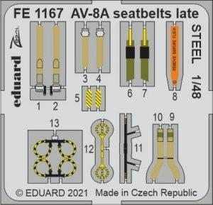 Eduard FE1167 AV-8A seatbelts late STEEL KINETIC 1/48