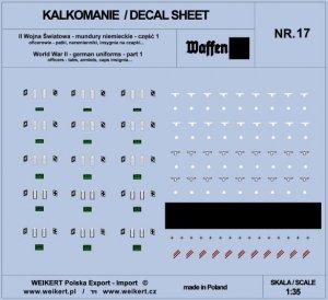 Weikert Decals DEC217 Mundury niemieckie - patki, naramienniki, insygnia na czapki - WAFFEN SS - ver.1 - vol.17 1/35