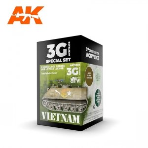 AK Interactive AK 11659 VIETNAM CAMOUFLAGE COLORS FOR JUNGLE COLORS 3x17 ml