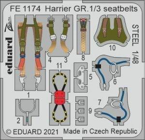 Eduard FE1174 Harrier GR.1/3 seatbelts STEEL KINETIC 1/48