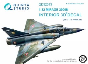 Quinta Studio QD32013 Mirage 2000N 3D-Printed & coloured Interior on decal paper (for Kitty Hawk kit) 1/32