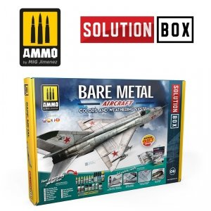 AMMO of Mig Jimenez 7721 HOW TO PAINT BARE METAL AIRCRAFT. COLORS AND WEATHERING SYSTEM SOLUTION BOX