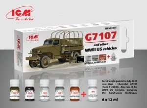 ICM 3005 Acrylic Paint Set for G7107 4x4 WWII Army Truck 6x12ml