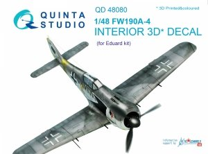 Quinta Studio QD48080 FW 190A-4 3D-Printed & coloured Interior on decal paper (for Eduard kit) 1/48