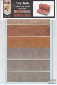 Uschi 1021 Leather Decals For 1:48, 1:32, 1:24 Kits. 2 Sheets with textures in Red/Brown, Beige/Grey