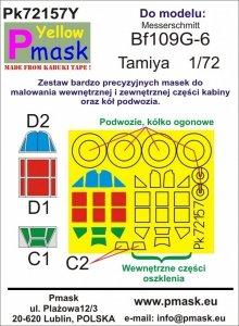 P-Mask PK72157Y Bf109G-6 (Tamiya) Maski z żółtego materiału kabuki 1/72