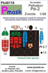 P-Mask PK48118 Petlyakov Pe-2 (Zvezda) 1/48