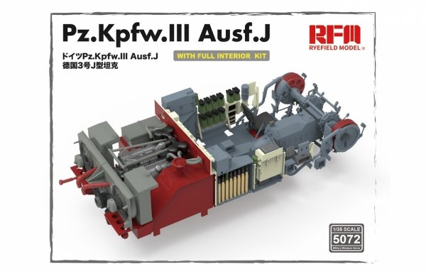 Rye Field Model 5072 Pz.Kpfw.III Ausf.J FULL INTERIOR 1/35