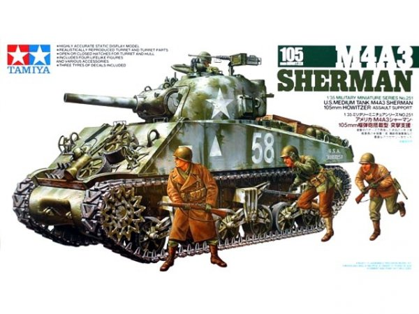 Tamiya 35251 M4A3 Sherman 105mm Howitzer (1:35)