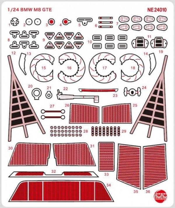 NuNu NE24010 BMW M8 GTE Detail Up Parts 1/24