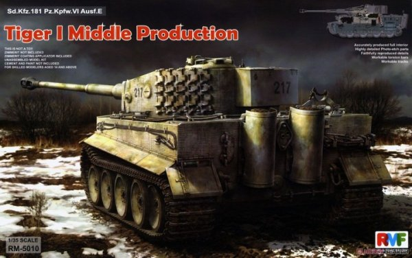 Rye Field Model 5010 Sd.Kfz. 181 Pz.kpfw.VI Ausf. E Tiger I Middle Production w/ Full Interior 1/35