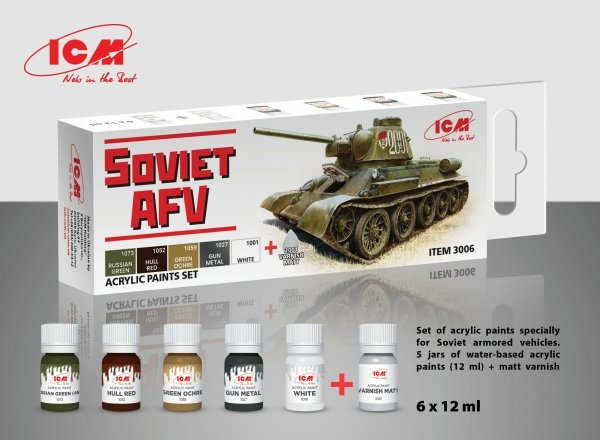 ICM 3006 Acrylic paints specially for Soviet armored vehicles 6x12ml