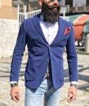 Giacca uomo blu Sportiva - Giacca in felpa - Blazer uomo sfoderato - Exigo