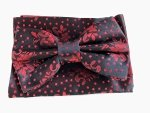 Papillon uomo nero - Fantasia rossa - Con pochette