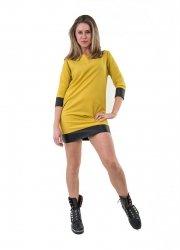 Abito estivo giallo - Vestito corto - Abitino manica lunga - Vestitini donna