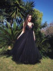 Abito elegante donna - Vestito nero per cerimonia - Romantico
