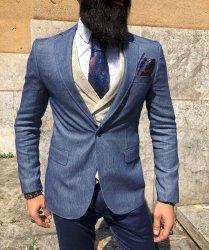 Giacca uomo blu elegante - Giacca slim - Blazer uomo foderato