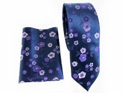 Cravatta slim - Blu - Fantasia - pochette