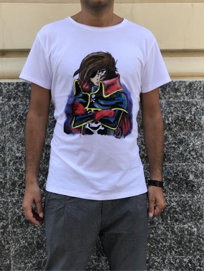 T-shirt - Capitan Harlock - 100% Cotone - Dipinta a mano