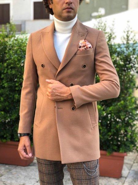Cappotto uomo, Cammello - Cappotto Doppio petto - Abbigliamento online Gogolfun.it