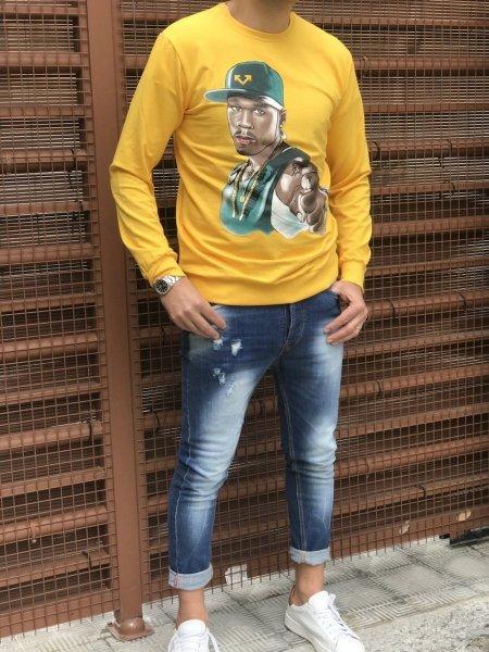 Felpa gialla, girocollo - Abbigliamento uomo gogolfun.it