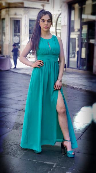 Abito donna verde - Vestito lungo cerimonia - Abito elegante - Gogolfun.it