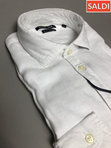 Camicia di lino bianca - Collo classico - Key Jey - Camicie di lino - Gogolfun.it