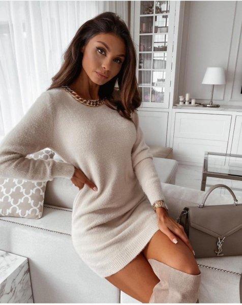 Maglione donna lungo - Maglioni bianchi, lunghi - Maglione lungo - Gogolfun.it