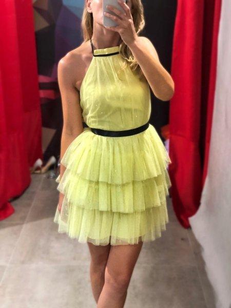 Vestito corto, elegante - Giallo - In tulle - Vestiti corti - Vestiti gialli - Gogolfun.it