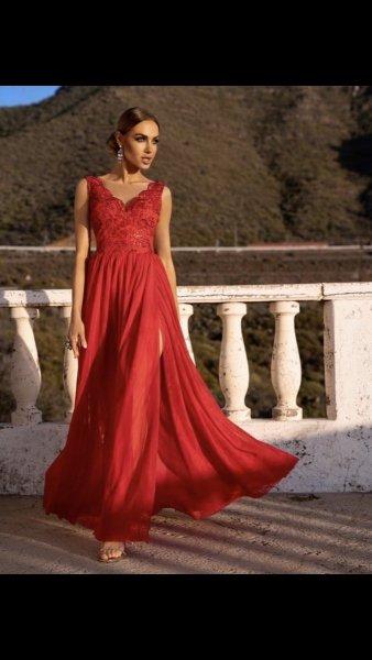 Vestito rosso lungo - Amanda - Vestito rosso elegante con spacco -  Vestiti rossi Gogolfun.it
