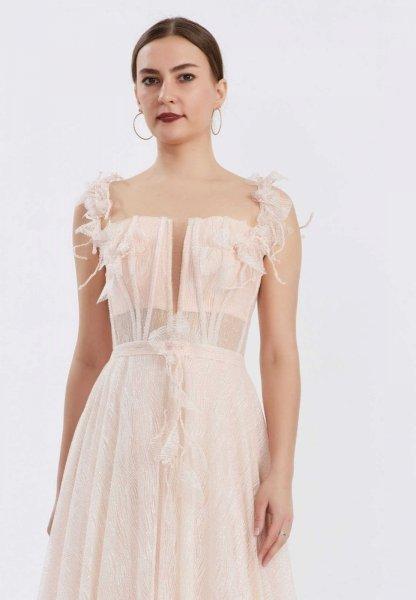 Vestito lungo elegante, rosa - Corpetto decorato - Diciottesimo - Gogolfun.it