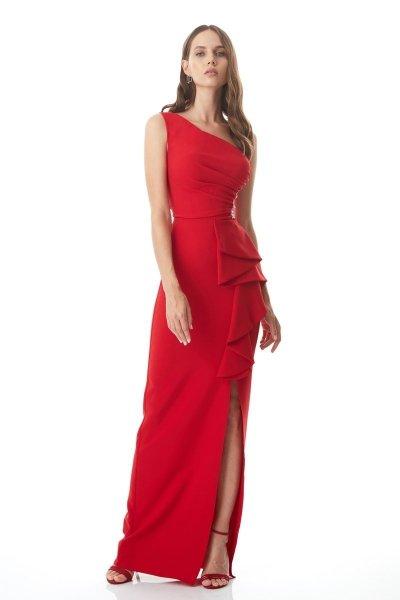 Vestito rosso lungo - A sirena - Vestito rosso, mono spalla - Negozio di abiti da cerimonia gogolfun.it