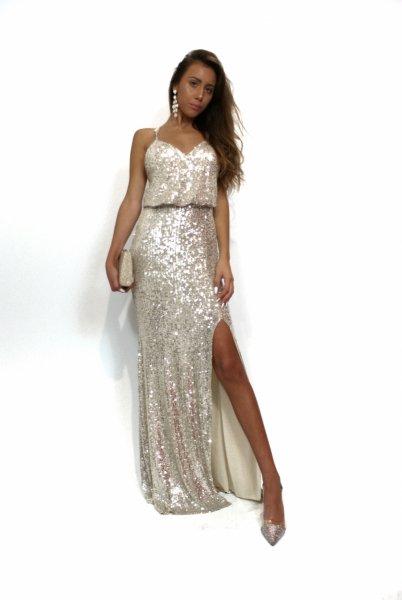 Vestito con spacco - Oro - Vestito paillettes