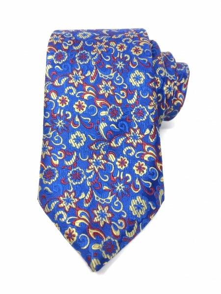 Krawat - Błękitny  krawat - W kwiatki - Gogolfun.it