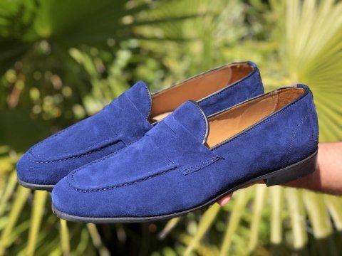 Mokasyny męskie, zamszowe - Penny loafers - Niebieskie - Made in Italy - Gogolfun.pl